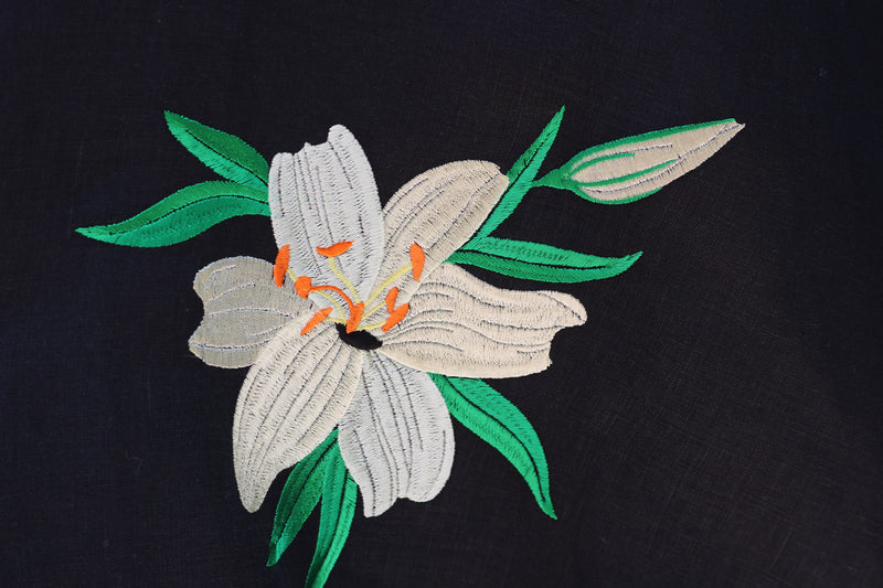 Tropical Flower on Linen Fabric