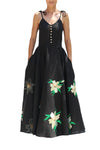 FANM MON Manbo Black Green Embroidered Linen Dress