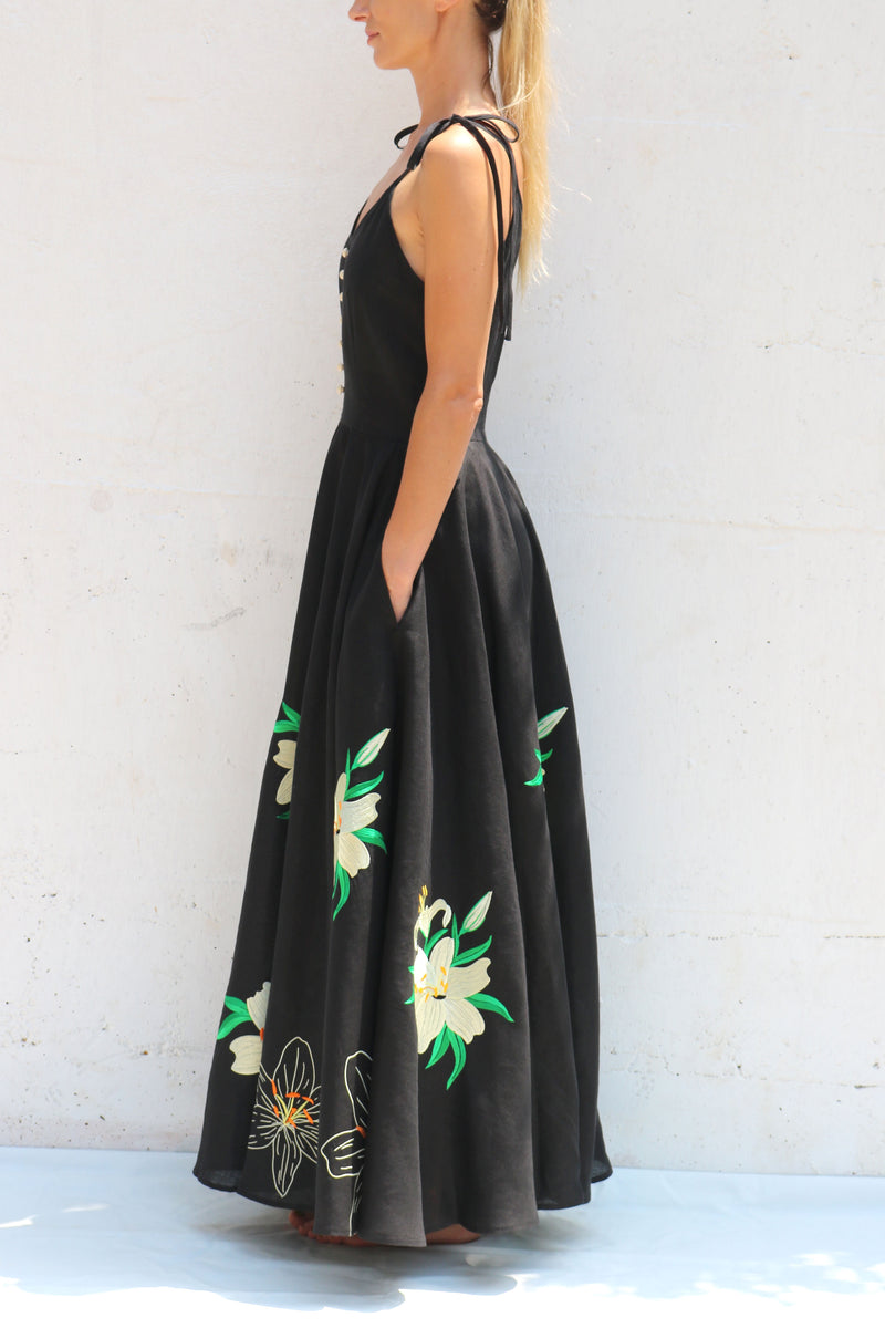 Black Linen Dress Spaghetti Straps Maxi