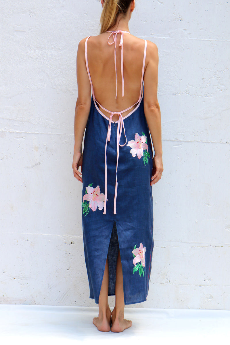 Navy Linen MIDI Dress with Pink Flowers Silk Embroidery Spaghetti Straps
