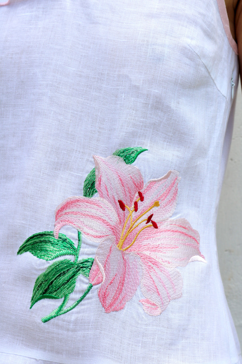 White Linen Dress with Pink Floral Embroidery One Puff Shoulder
