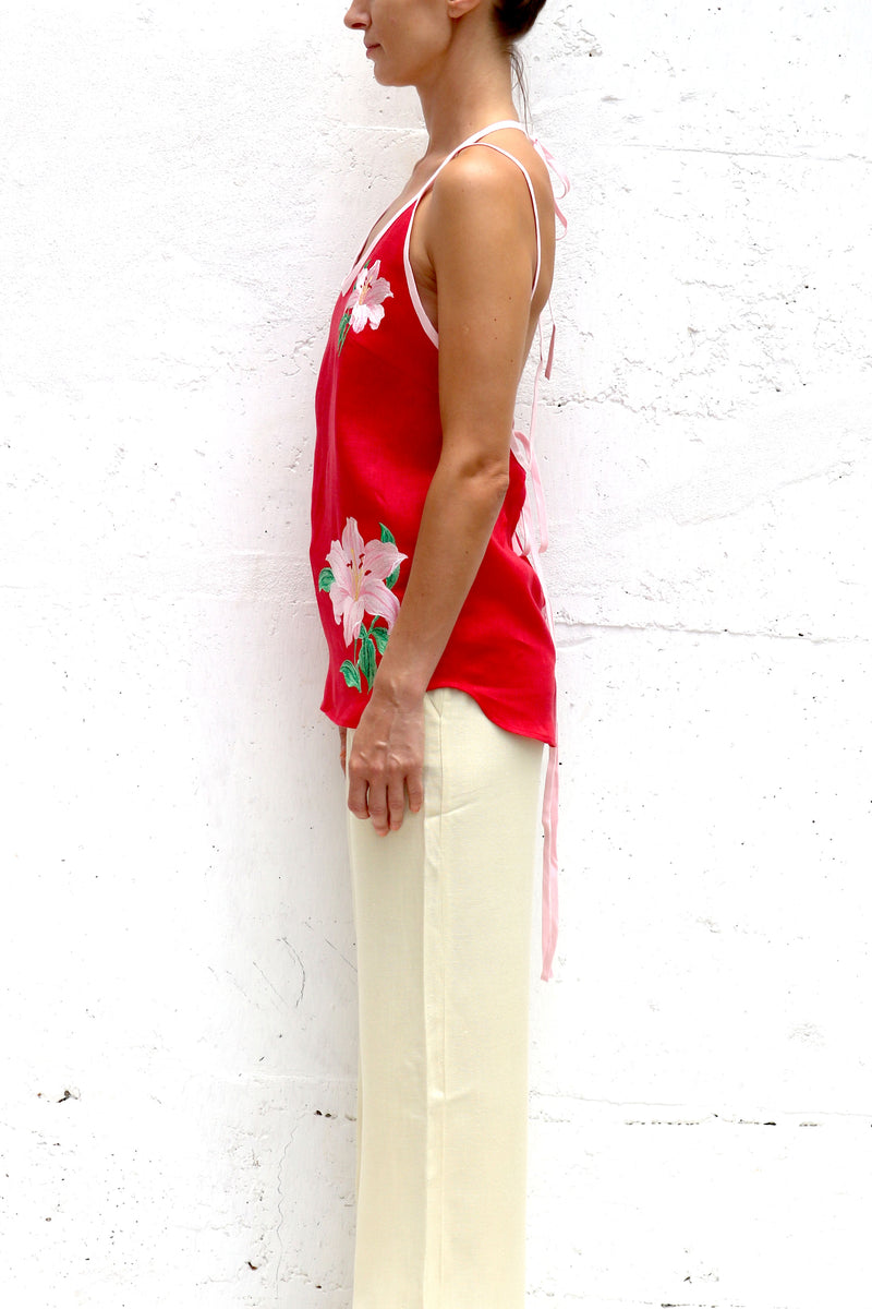 Red Linen Blouse with Pink Flowers Embroidery Double Spaghetti Straps