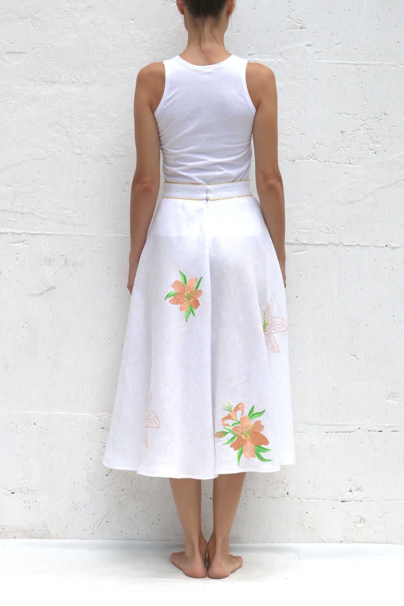 White Linen Skirt with Orange Green Embroidery Long Skirt