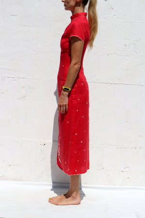 Red Linen Dress with White Floral Embroidery Side Slit