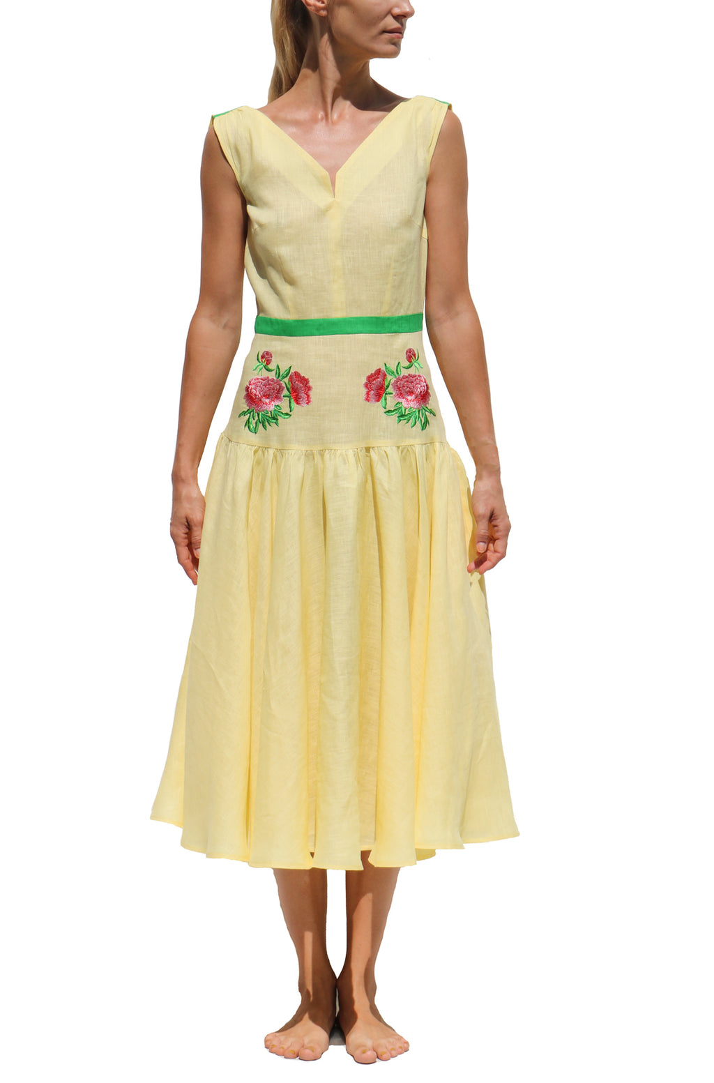 FANM MON Dafne Midi Embroidered Yellow Linen Dress