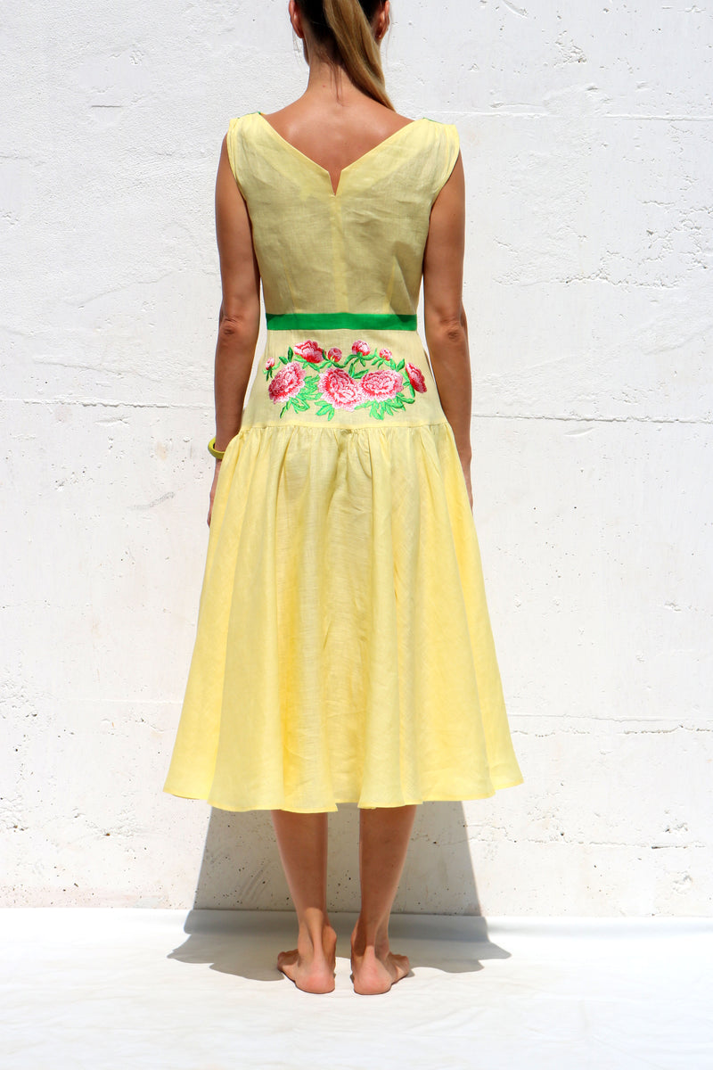 Yellow Midi Linen Dress with Floral Embroidery