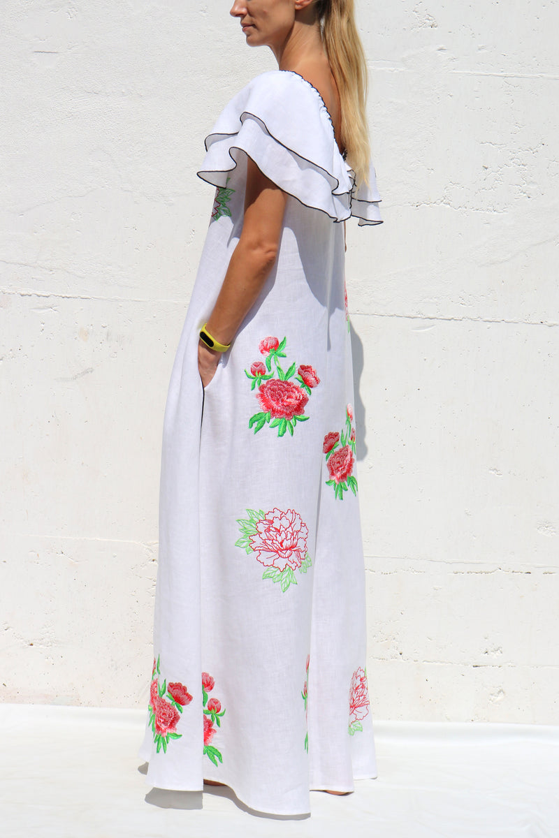 White Linen Long Dress with Red Floral Embroidery