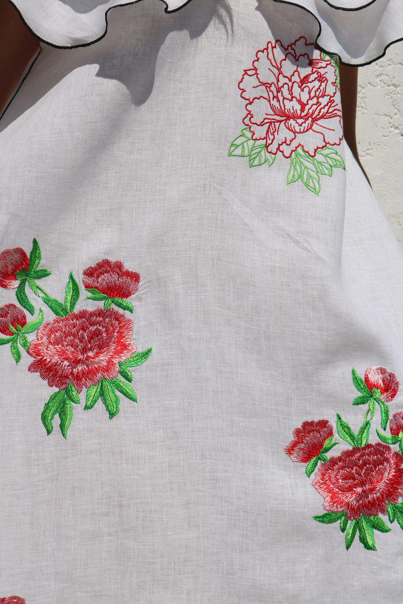 Red Flowers on Linen Dress