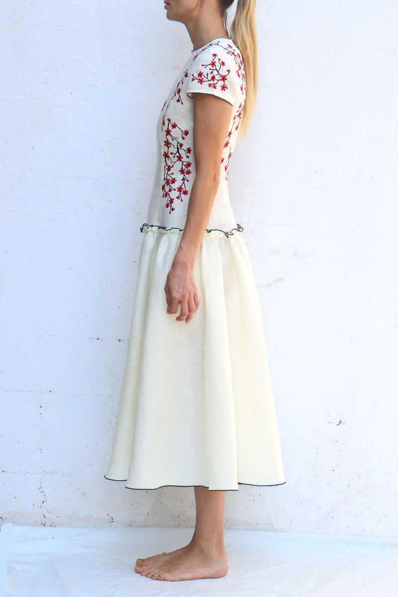 White Linen MIDI Dress with Red Embroidery