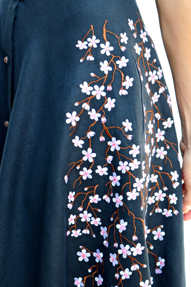Navy Linen Dress with White Flowers Embroidery