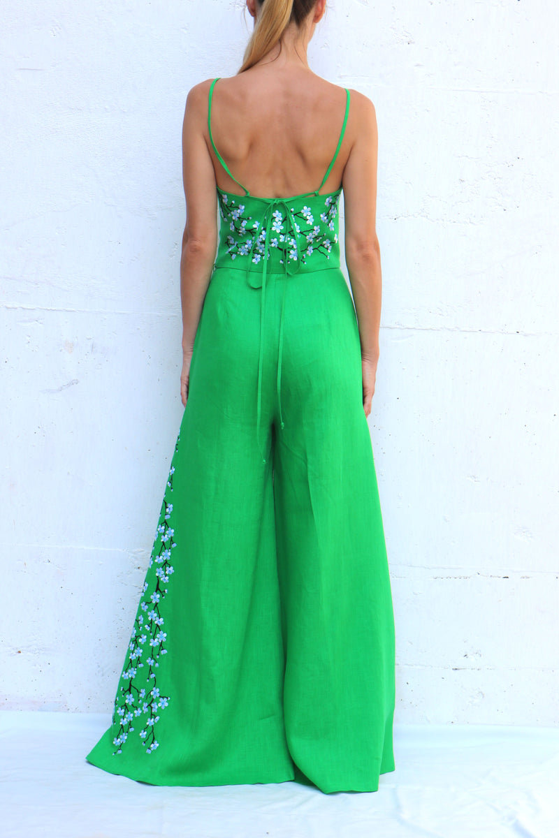 Green Linen 2 Piece Pants Set. Blouse and Pants with Embroidery