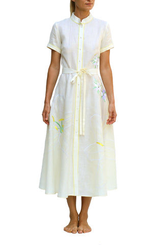 FANM MON Rafa Knee Length Blue Pink Embroidered Linen Dress