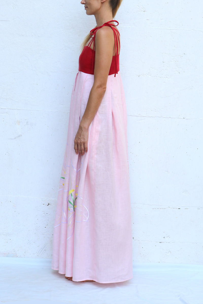 Pink Red Linen Dress with Spaghetti Straps Floral Embroidery