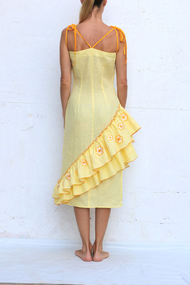 Yellow Midi Linen Dress with Ruffles and Embroidery