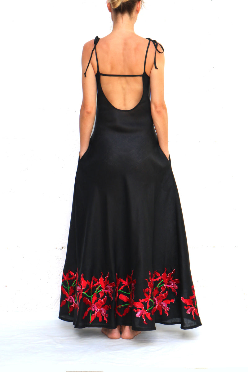 Black Linen Maxi Dress with Red Floral Embroidery Spaghetti Straps