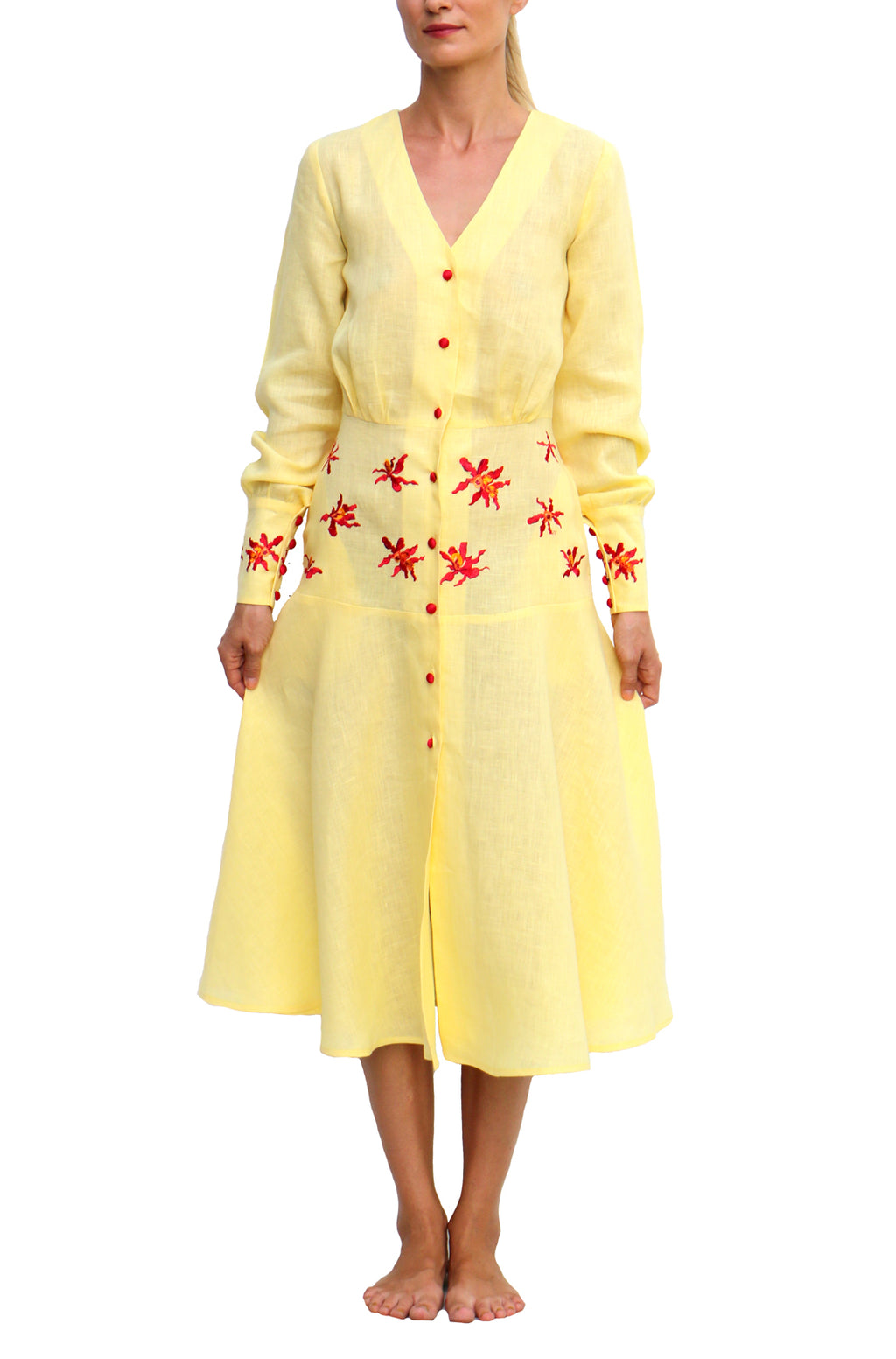 FANM MON Ambroise Yellow Midi Long Sleeves Embroidered Linen Dress