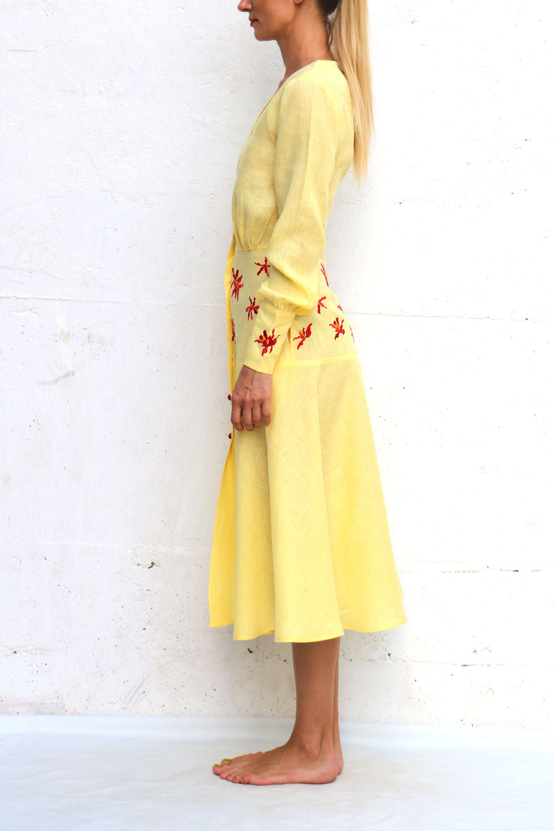 Yellow Linen Dress with Red Embroidery Long Sleeves