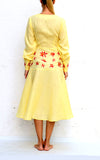 Yellow Midi Linen Dress V Neck Front Buttons Floral Embroidery