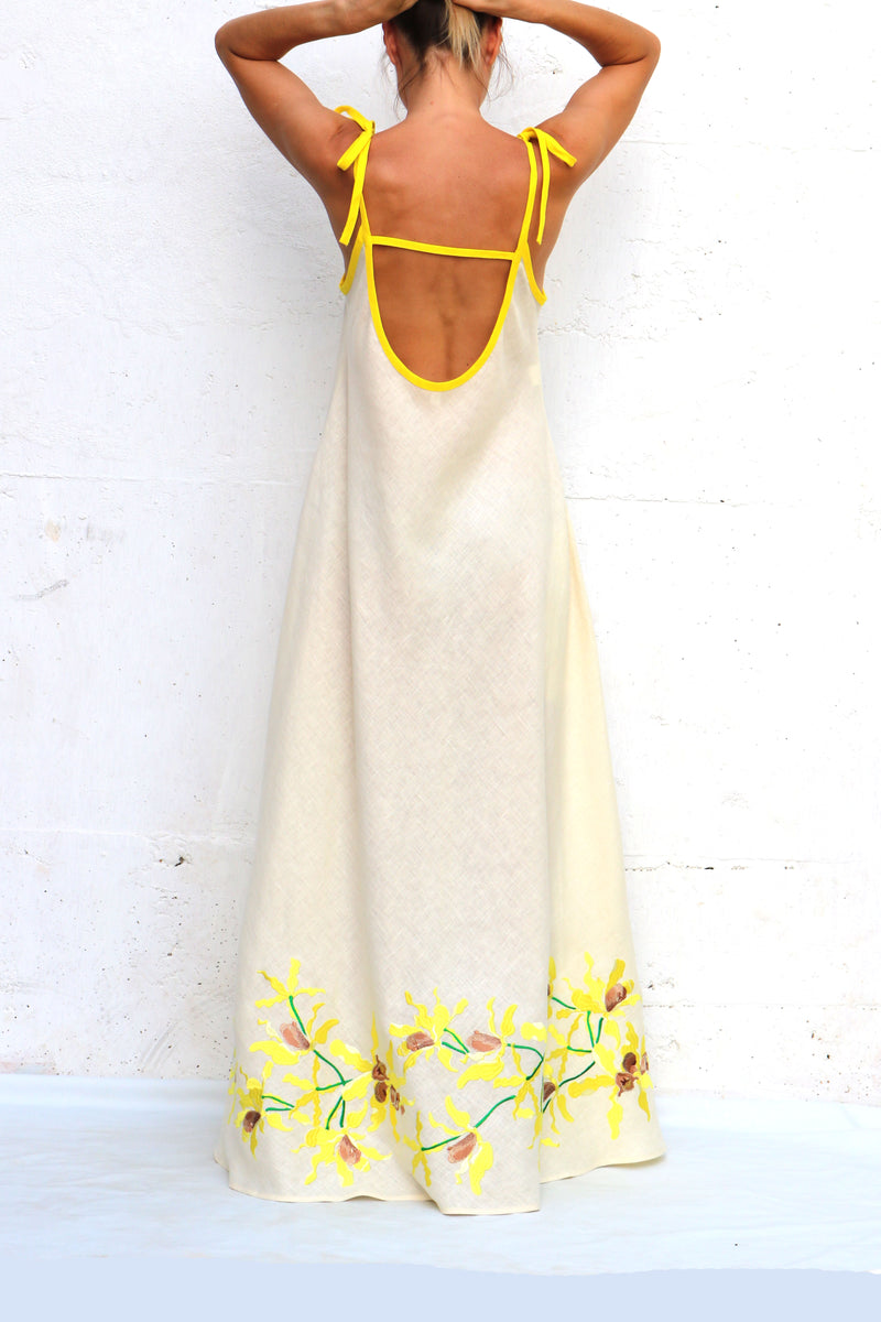 Cream Linen Dress with Yellow Silk Embroidery Bow Spaghetti Straps