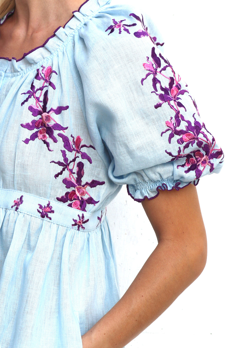Blue Linen MIDI Dress with Purple Embroidery Front Button Dress