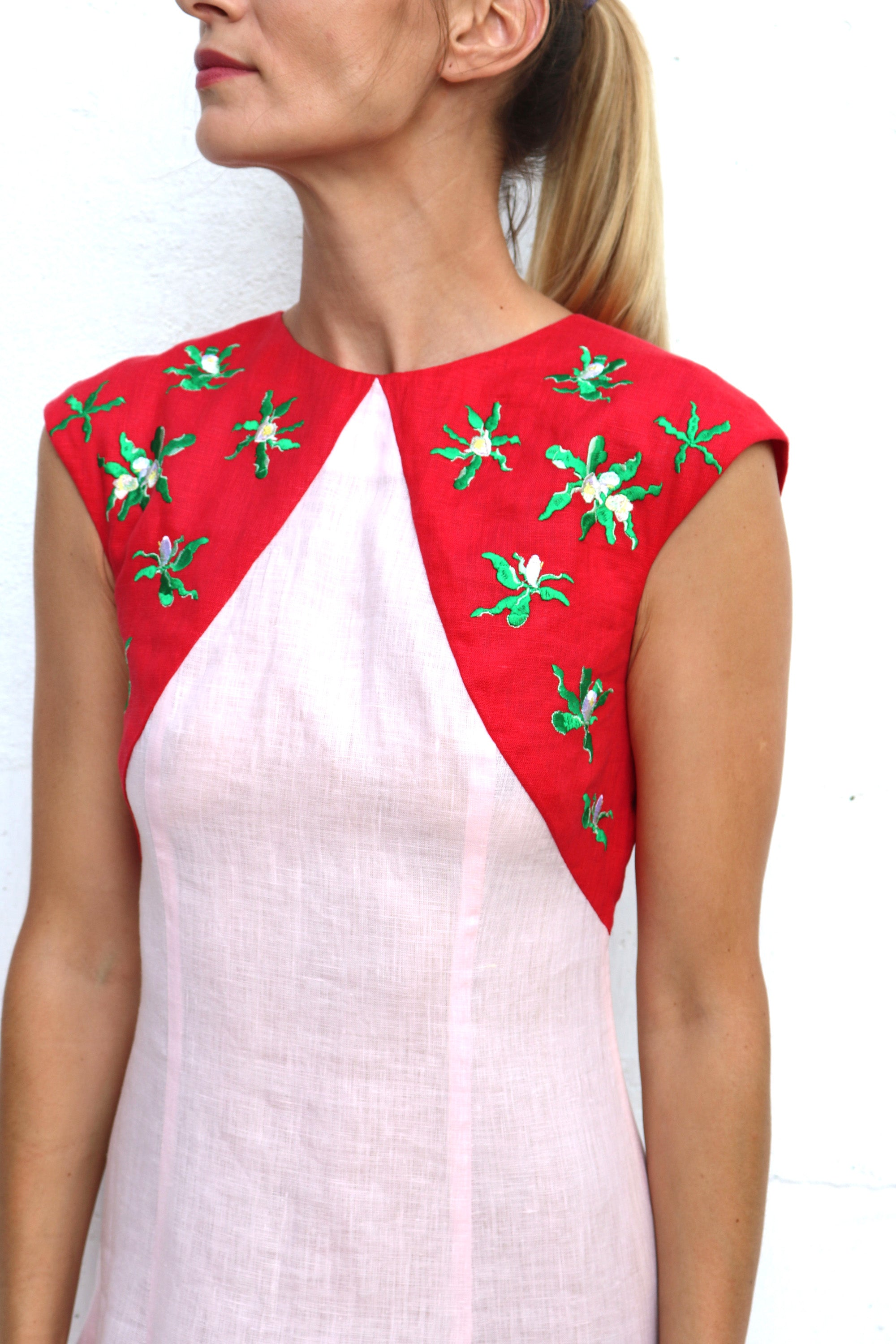 Pink Red Linen Dress with Shoulder Embroidery MIDI