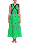 FANM MON Tayba Kelly Green Lilly Embroidered Linen Skirt