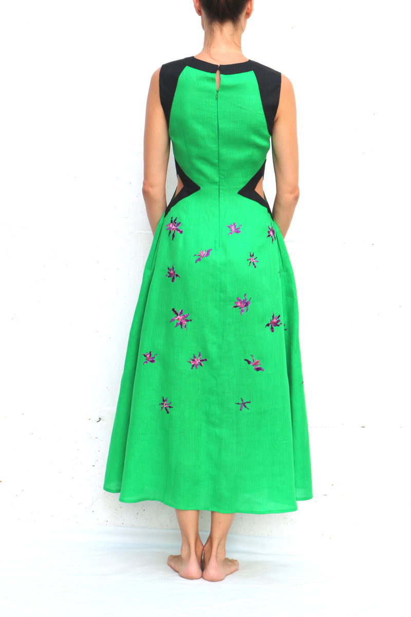 Green Midi Linen Dress with Floral Embroidery