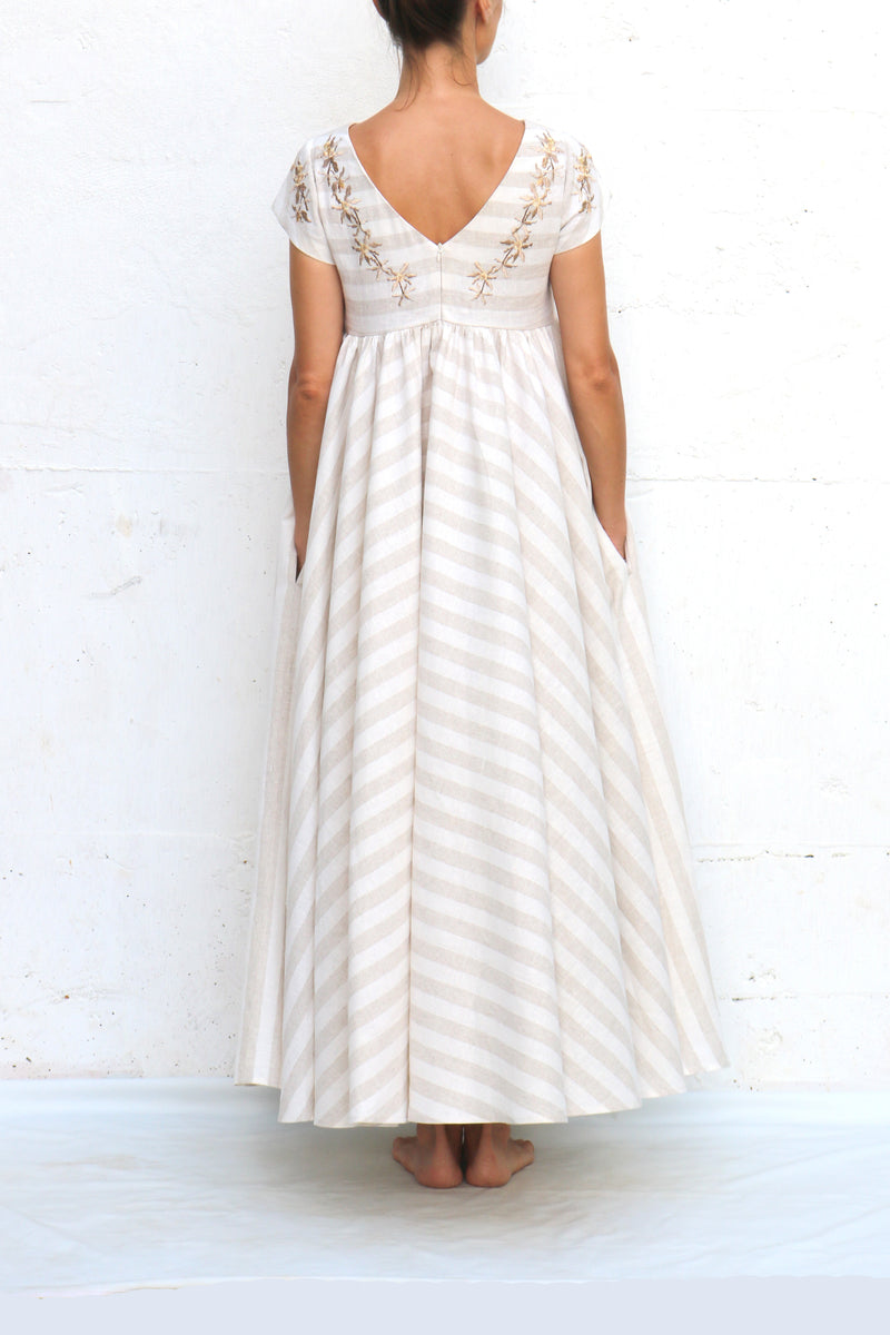 White Linen Striped Maxi Dress with Embroidery