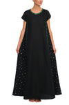 FANM MON Anya Long Black Embroidered Linen dress