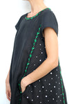 Black Linen Maxi Dress with Side Embroidery Green and White