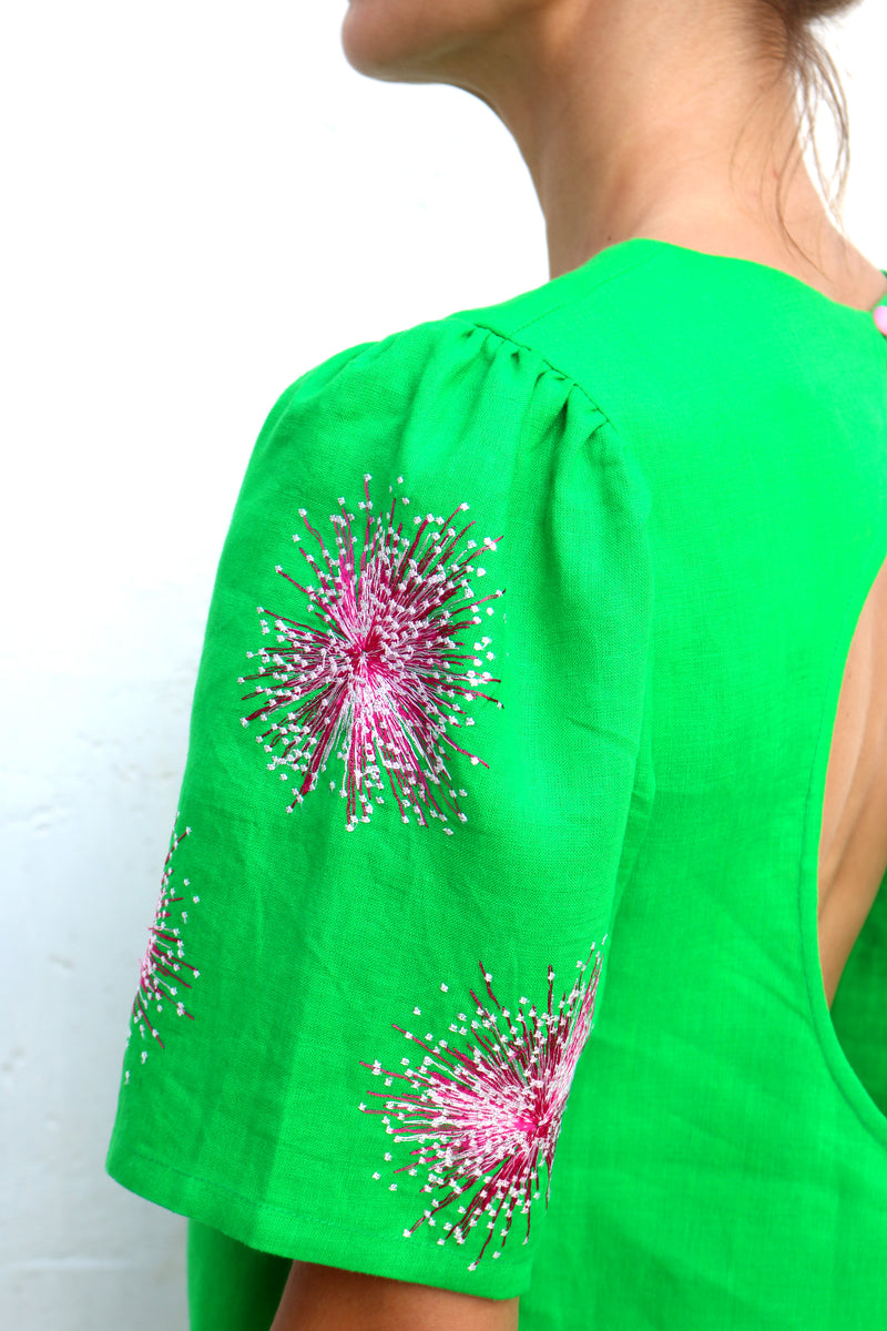 Green Linen Blouse with Purple White Floral Embroidery