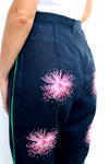 Navy Linen Pants with Purple Embroidery Long