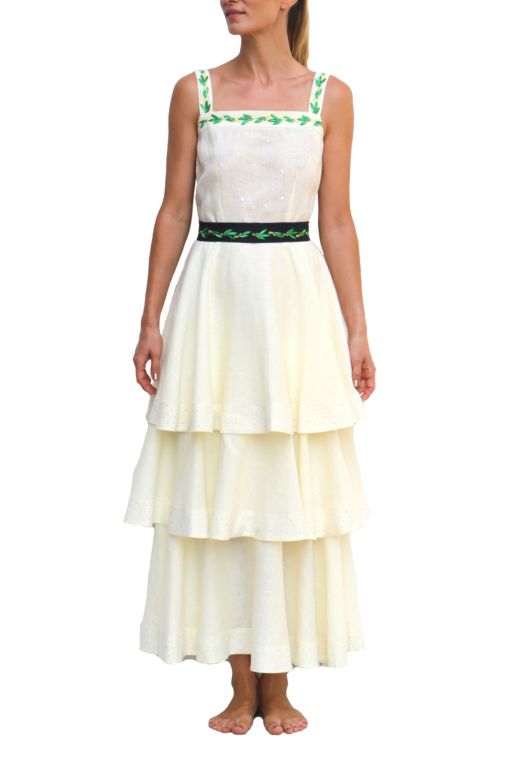 FANM MON Carline Cream Midi Belted Embroidered Linen Dress