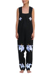 FANM MON Marie France Black Lilly Embroidered Linen Jumpsuit