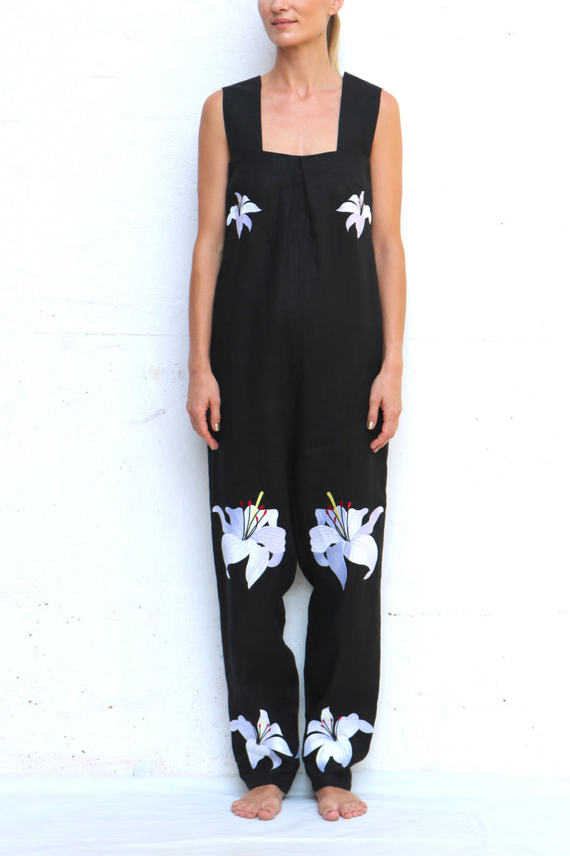 Navy Linen Jumpsuit with White Flowers Embroidery
