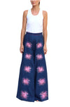 FANM MON Latia Navy Wideleg Embroireded Linen Pants