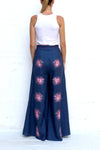 Navy Linen Pants with Purple Flower Embroidery