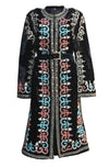 Fanm Mon LAVIE Vyshyvanka Silk Jacket Embroidered Black Purple Multi Floral Color Jacket SIZE M/L
