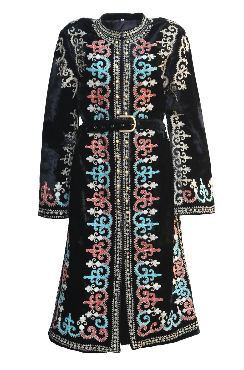 Fanm Mon MARROKKE Vyshyvanka Black Velvet Jacket HAND Embroidered MULTI COLOR Pattern