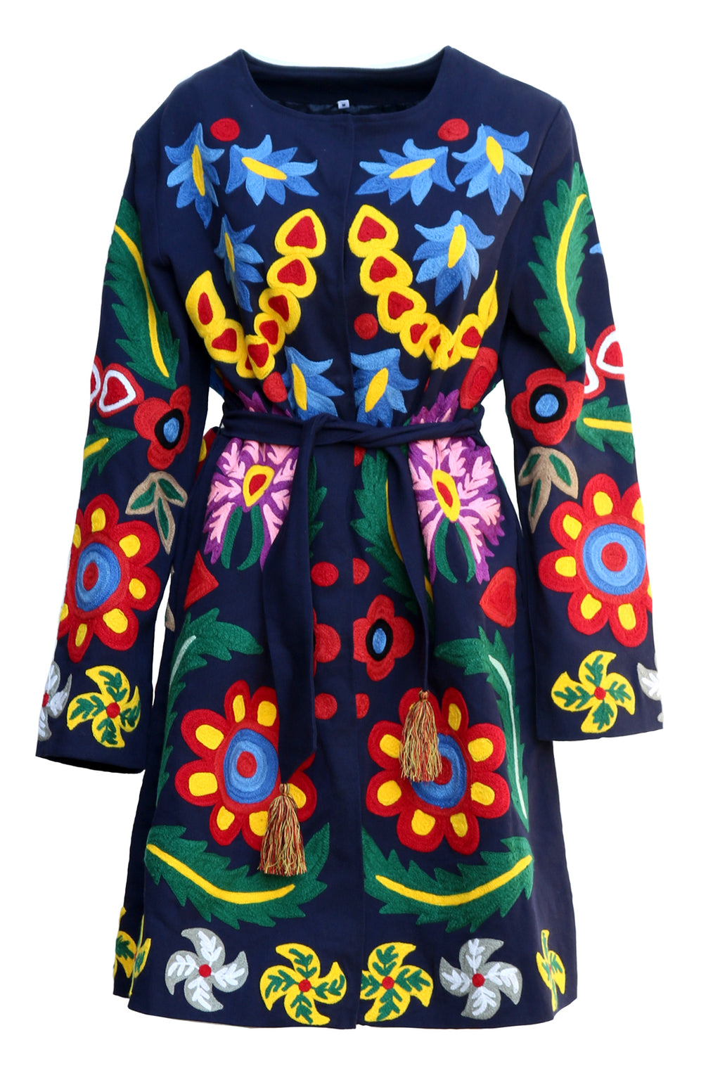 Fanm Mon Vyshyvanka Navy Linen Jacket HAND Embroidered MULTI COLOR Floral