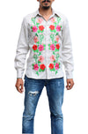 Fanm Mon EARTH Grey Linen Men Shirt Flowers