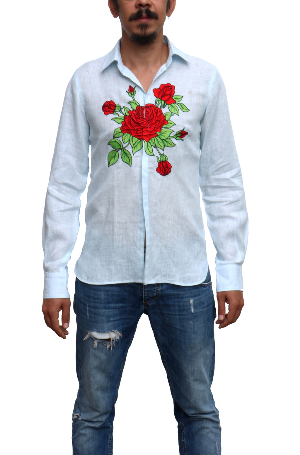 Fanm Mon ACTIVE Blue Linen Men Shirt Rose Embroidery