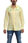 Fanm Mon FIRE Dark Blush Linen Men Shirt Flowers