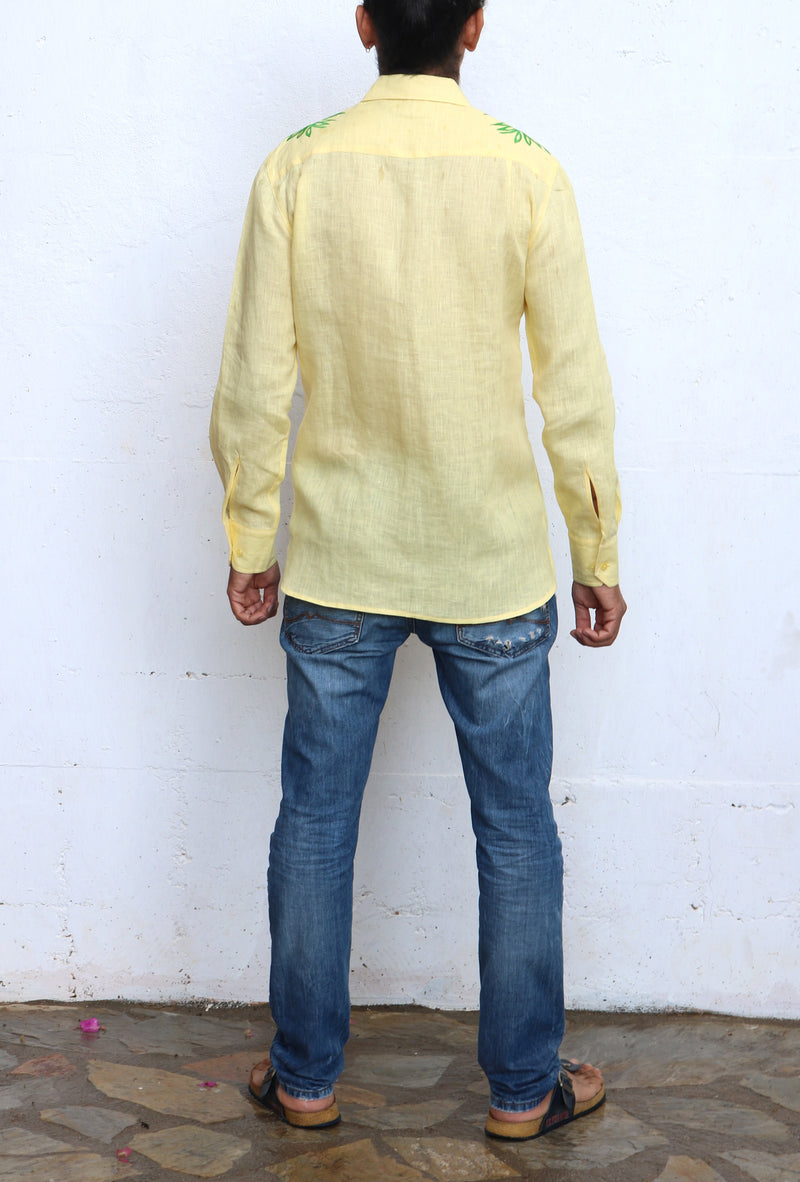 Fanm Mon METRO Yellow Linen Men Shirt Flowers