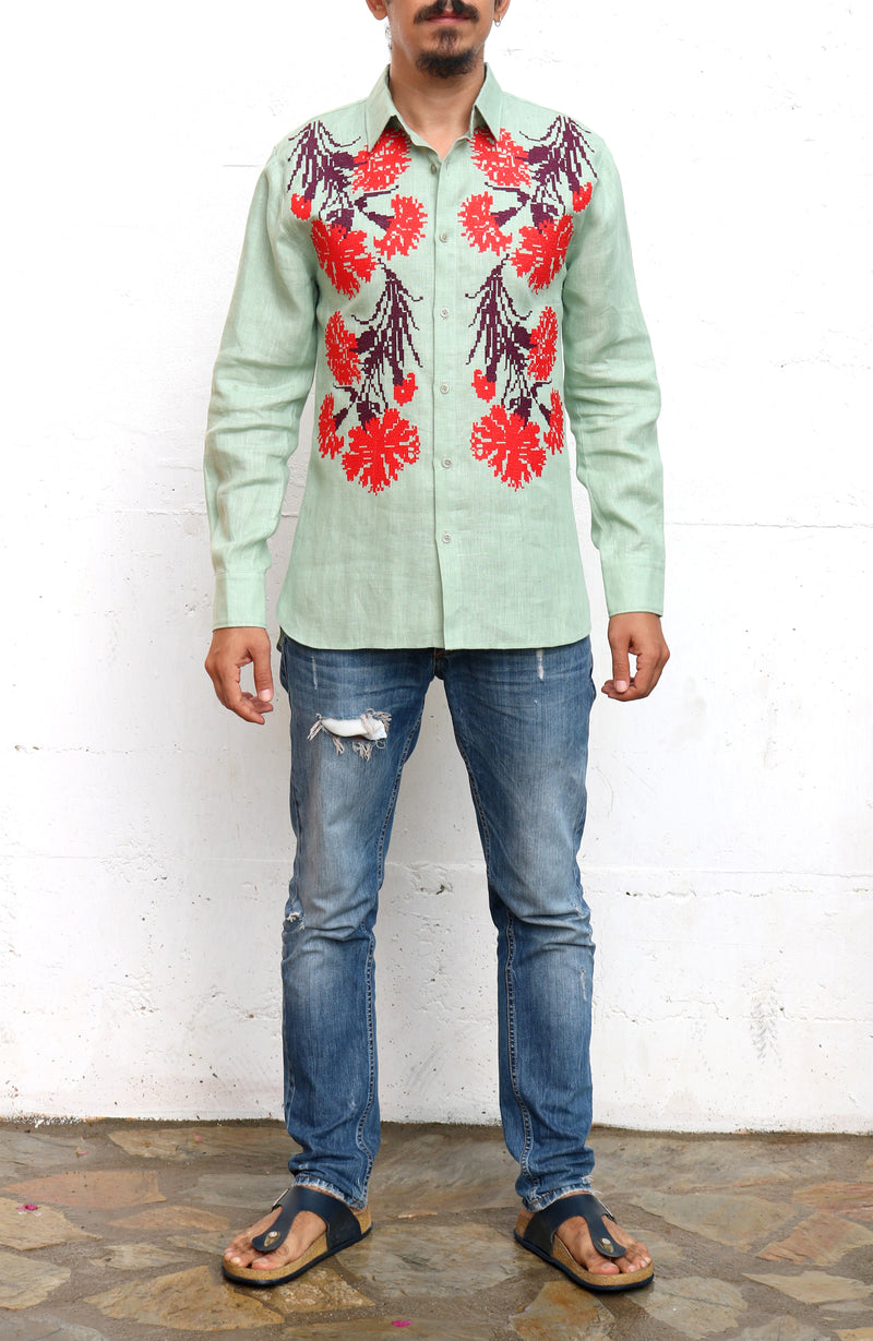 Fanm Mon PISTA Green Linen Men Shirt Flowers