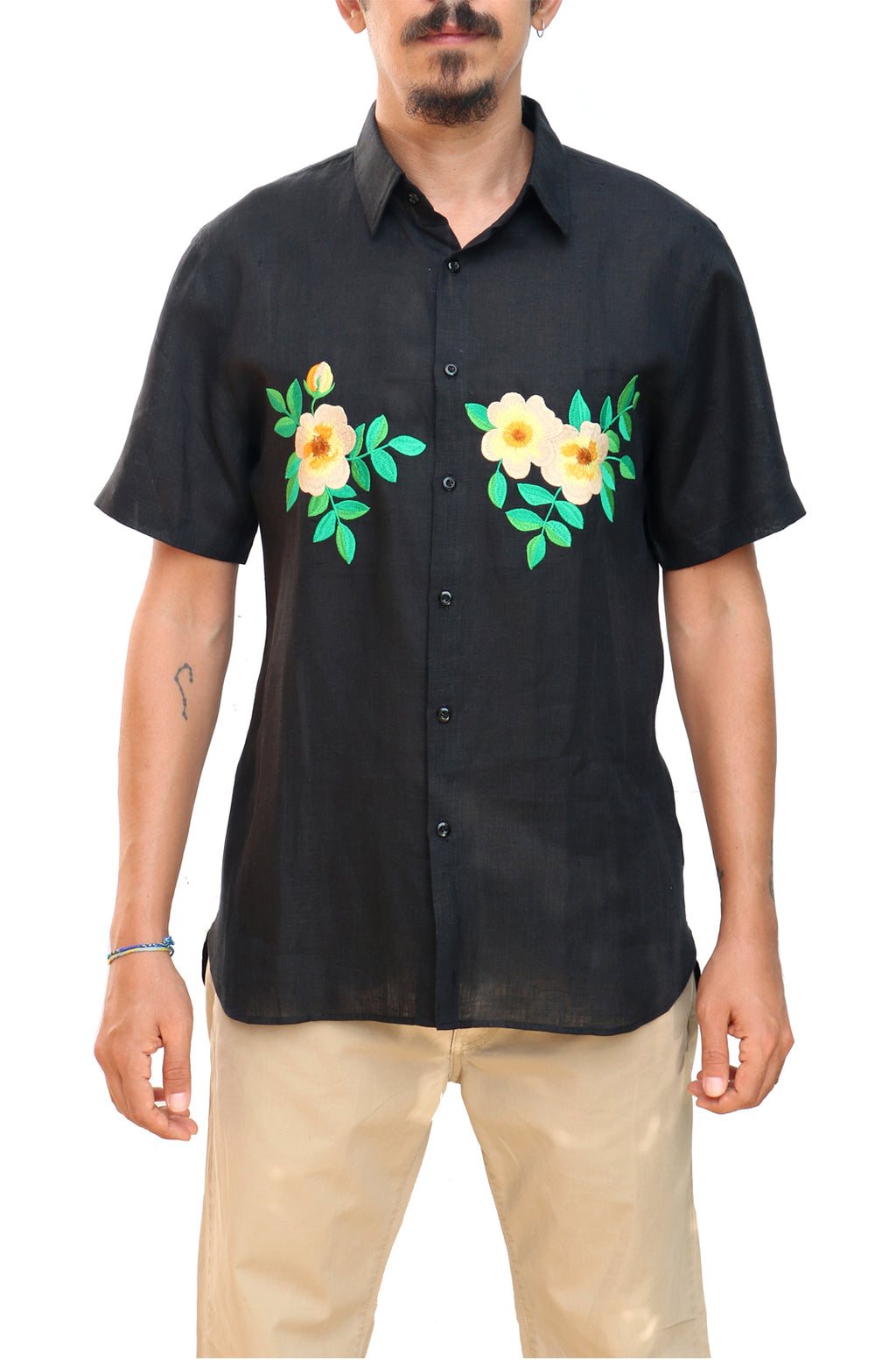 Fanm Mon ROCK Black Linen Men Shirt Flowers