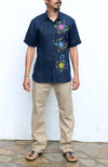 Fanm Mon TRIO Navy Linen Men Shirt Flowers