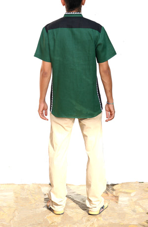 Fanm Mon VIBE Green Linen Men Shirt Black White Embroidery