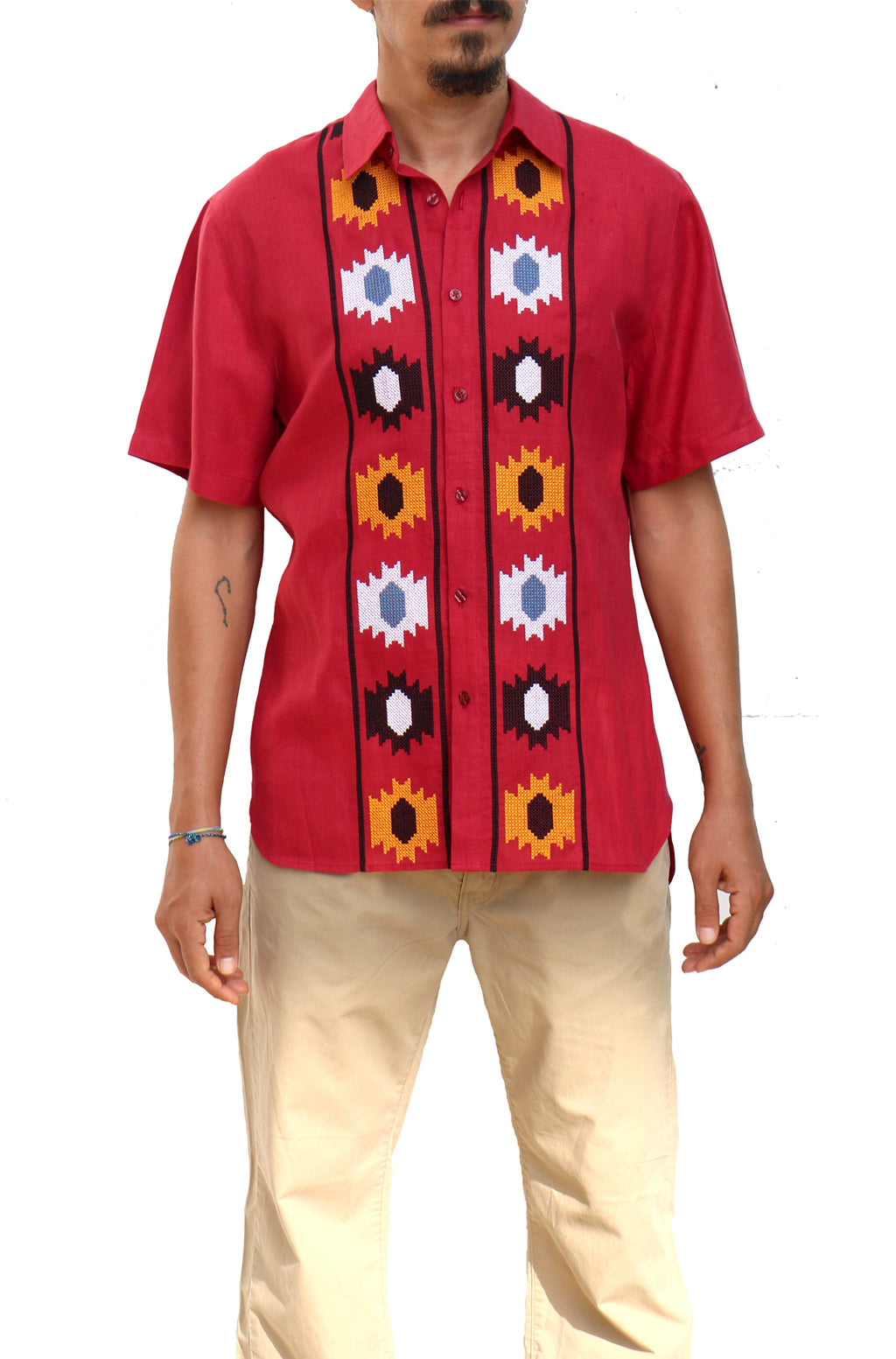 Fanm Mon SUN Burgundy Linen Men Shirt Flowers