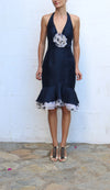 MELINDA ENG Navy Silk Evening Dress Tiered Hem Polka Dots Size 6